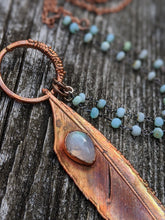 Load image into Gallery viewer, Real Copper Electroformed Feather - Rainbow Moonstone - Minxes' Trinkets