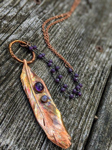 Real Copper Electroformed Feather - Amethyst and Moonstone - Minxes' Trinkets
