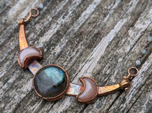Load image into Gallery viewer, Copper Electroformed Triple Goddess Moon Necklace - Peach Moonstone and Labradorite - Minxes' Trinkets