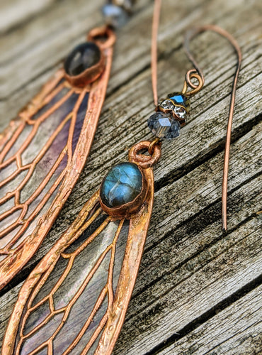 Carnival Row Fairy Wing Copper Electroformed Earrings - Labradorite - Minxes' Trinkets