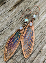 Load image into Gallery viewer, Carnival Row Fairy Wing Copper Electroformed Earrings - Moonstone - Minxes' Trinkets