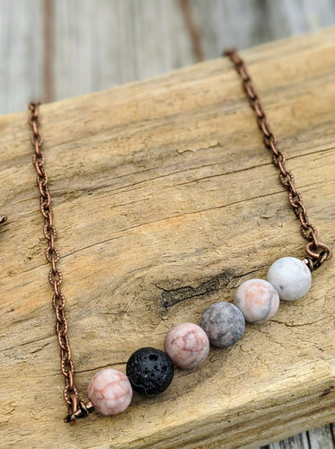 Simple Horizontal Pink Agate Necklace - Minxes' Trinkets