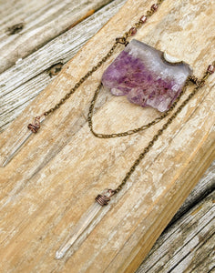 Amethyst Slice and Quartz Point Chain Drape Necklace - Minxes' Trinkets