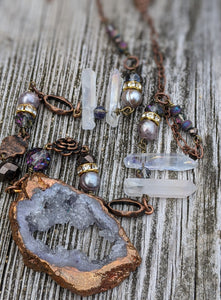 Copper Electroformed Druzy and Quartz Necklace - Minxes' Trinkets