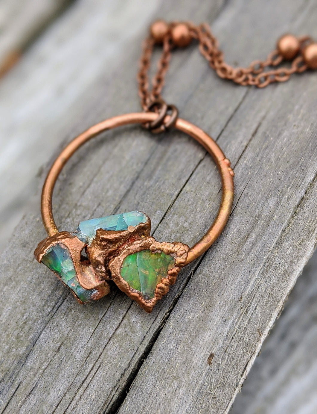 Ethiopian Opal Copper Electroformed Necklace I - Minxes' Trinkets