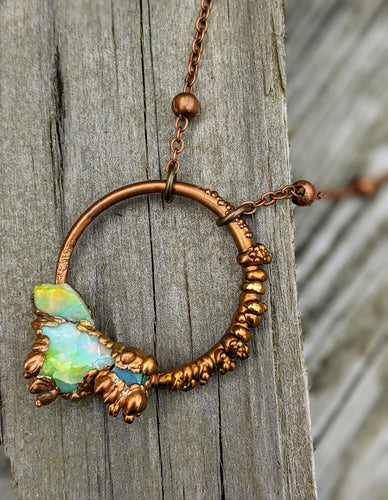 Ethiopian Opal Copper Electroformed Necklace II - Minxes' Trinkets