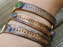 Load image into Gallery viewer, Chesapeake Bae Cuff - Labradorite - Copper Electroformed - Minxes' Trinkets