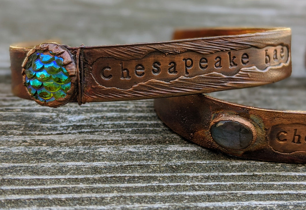 Chesapeake Bae Cuff - Resin Scale Cabochon - Copper Electroformed - Minxes' Trinkets