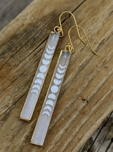Load image into Gallery viewer, Engraved Selenite Moon Phase Earrings - Minxes' Trinkets