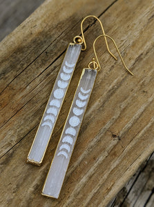 Engraved Selenite Moon Phase Earrings - Minxes' Trinkets