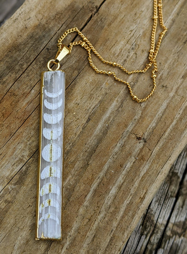 Slightly Imperfect - Engraved Selenite Moon Phase Necklace - Vertical Bar I - Minxes' Trinkets