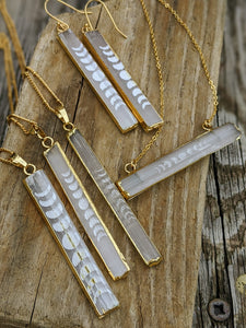 Slightly Imperfect - Engraved Selenite Moon Phase Necklace - Vertical Bar II - Minxes' Trinkets