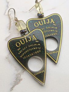 Ouija Planchette Earrings - citrine and rhinestones - Minxes' Trinkets