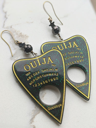 Ouija Planchette Earrings - hematite stars - Minxes' Trinkets
