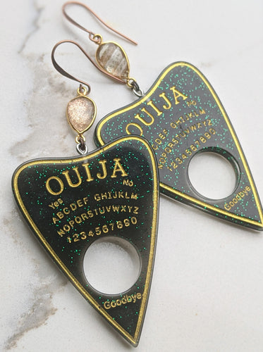 Ouija Planchette Earrings - golden rutilated quartz - Minxes' Trinkets