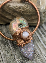 Load image into Gallery viewer, Mermaid Amulet - Ammonite and Aura-coated Spirit Quartz and Sunstone - Minxes' Trinkets