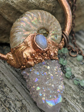 Load image into Gallery viewer, Mermaid Amulet - Ammonite and Aura-coated Spirit Quartz and Moonstone and Amethyst - Minxes' Trinkets