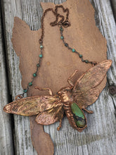 Load image into Gallery viewer, Copper Electroformed Large Cicada - Hubei Turquoise - Minxes' Trinkets