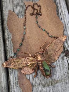 Copper Electroformed Large Cicada - Hubei Turquoise - Minxes' Trinkets