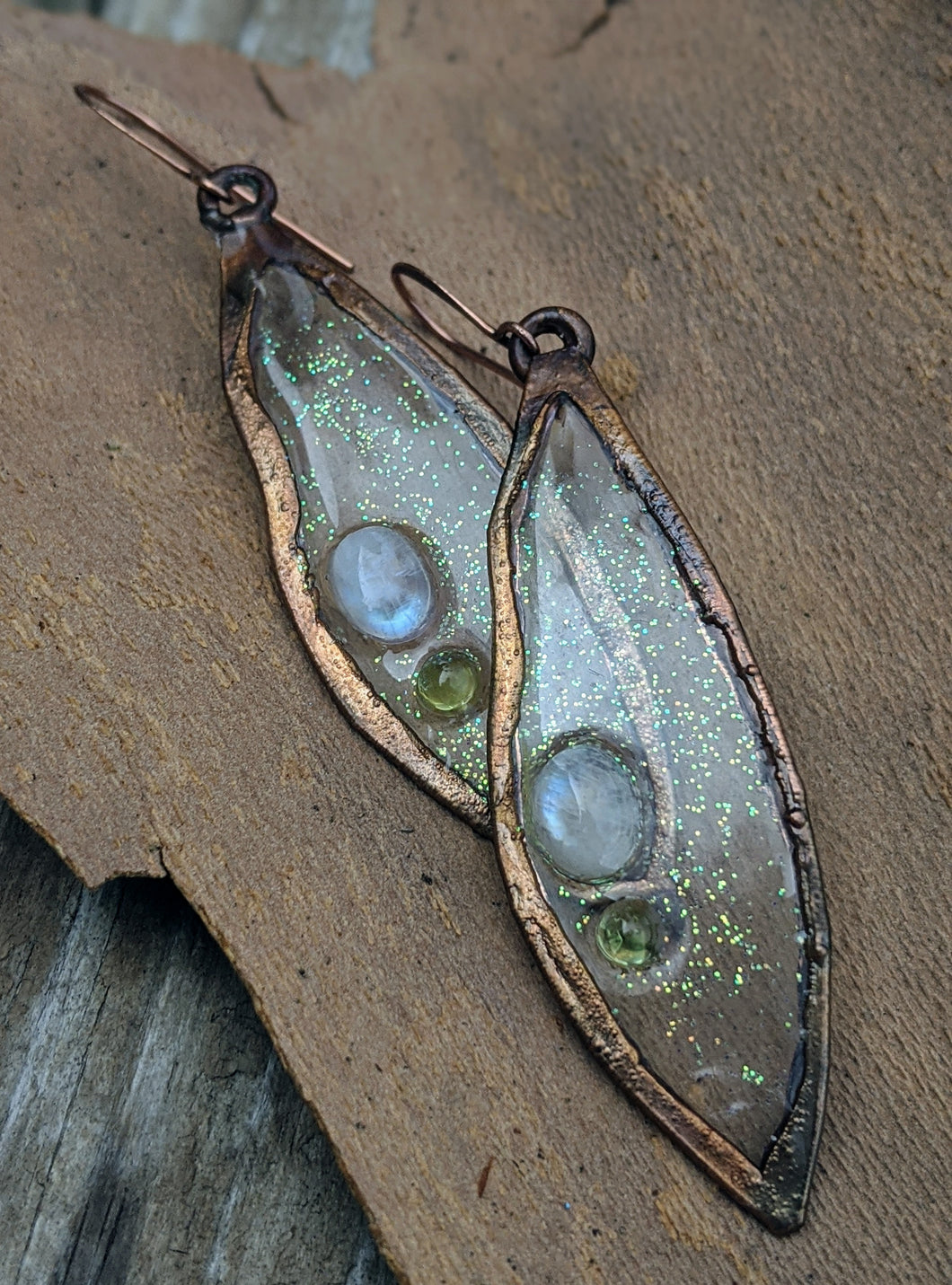 Magic Leaves Copper Electroformed Resin Earrings - Moonstone and Peridot - Minxes' Trinkets