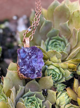 Load image into Gallery viewer, 5 - Druzy Amethyst Copper Electroformed Necklace