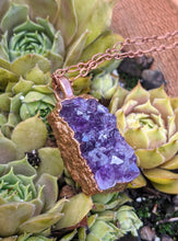 Load image into Gallery viewer, 6 - Druzy Amethyst Copper Electroformed Necklace