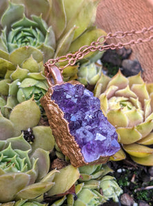 6 - Druzy Amethyst Copper Electroformed Necklace