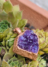 Load image into Gallery viewer, 9 - Druzy Amethyst Copper Electroformed Necklace