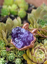 Load image into Gallery viewer, 10 - Druzy Amethyst Copper Electroformed Necklace