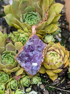 11 - Druzy Amethyst Copper Electroformed Necklace