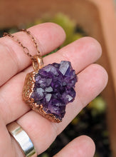 Load image into Gallery viewer, 12 - Druzy Amethyst Copper Electroformed Necklace
