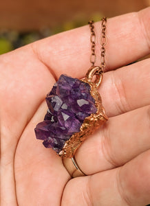 12 - Druzy Amethyst Copper Electroformed Necklace