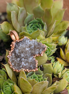13 - Druzy Herkimer Diamond Copper Electroformed Necklace