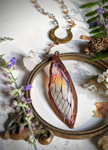 Relic Fairy Wing Rosary Necklace - Resin and Copper Electroformed 4