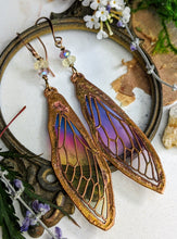 Load image into Gallery viewer, Carnival Row Fairy Wing Copper Electroformed Earrings - 13