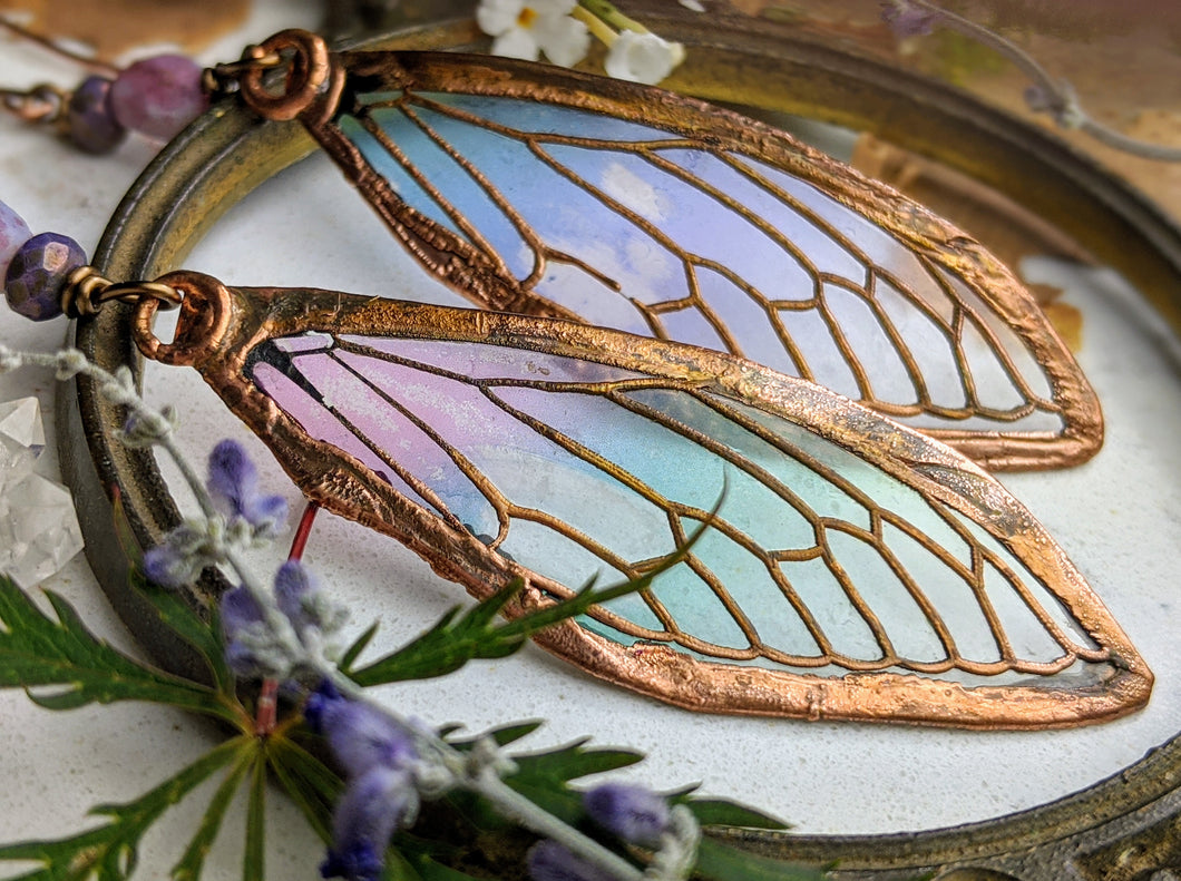 Carnival Row Fairy Wing Copper Electroformed Earrings - 15