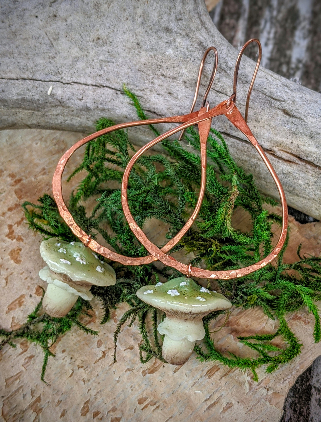 Green Amanita Mushroom & Copper Earrings - #2