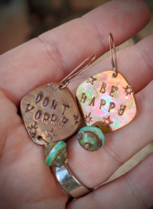 Hand Stamped Earrings - Don't Worry, Be Happy