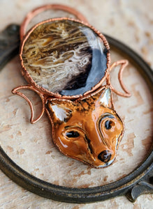 Fox and Palm Root Moon Electroformed Necklace