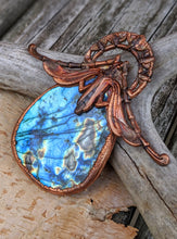 Load image into Gallery viewer, Gigantic Labradorite with Art Nouveau Moth / Scarab - Copper Electroformed Statement Necklace