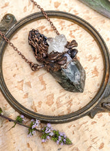 Load image into Gallery viewer, Petite Morel Mushroom Electroformed Necklace with Garden Quartz and Shelf Mushrooms