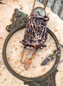 Morel Mushroom Electroformed Necklace with Tangerine Quartz and Ammonite Snail Friend