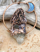 Load image into Gallery viewer, Morel Mushroom Electroformed Necklace with Druzy Quartz Point and Labradorite Moon