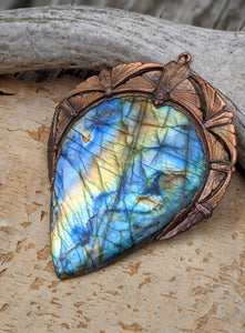 Gigantic Labradorite with Art Nouveau Moths / Scarabs - Copper Electroformed Statement Necklace