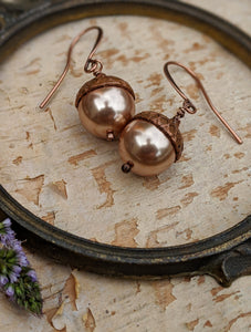 Acorn Earrings - Champagne Swarovski Pearl
