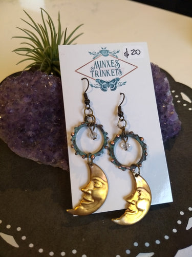Man in the Moon and Copper Verdigris Earrings - Minxes' Trinkets