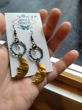 Load image into Gallery viewer, Man in the Moon and Copper Verdigris Earrings - Minxes' Trinkets