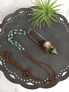 Citrine and Mermaid Scale Electroformed Necklace - Minxes' Trinkets