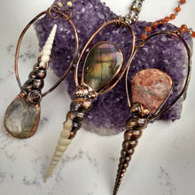 Load image into Gallery viewer, Purple Labradorite & Shell Electroformed Necklace - Minxes' Trinkets
