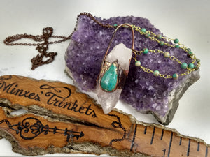 Quartz & Chrysocolla Electroformed Necklace - Minxes' Trinkets